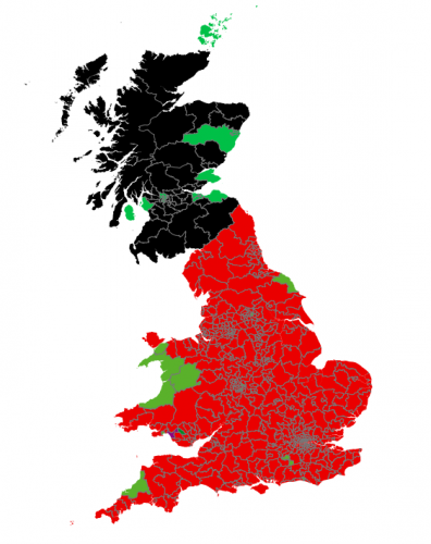 Image of UK with most of England red, indicating Labour support, most of Scotland Black, indicating SNP support, and some pockets of Green party support.