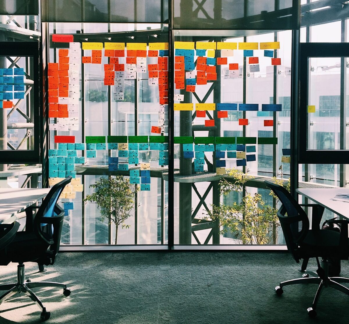 Picture of an agile planning board on the window of an office building